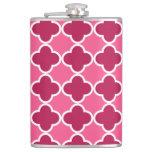 Pink quatrefoil pattern flask