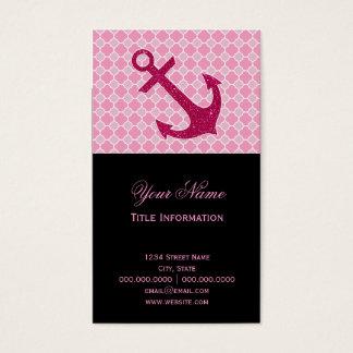 Pink Quatrefoil Pattern Glitter Sparkles Anchor Business Card