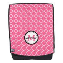 Pink Quatrefoil Pattern Monogram Backpack