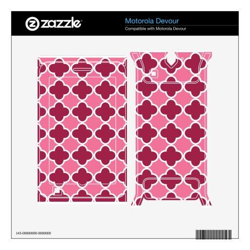 Pink quatrefoil pattern motorola devour skins