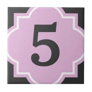 Pink quatrefoil street address house number tile