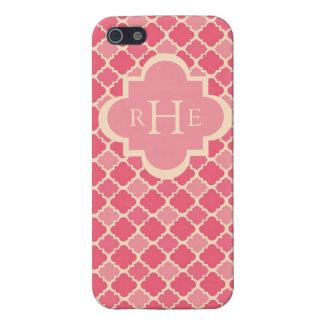 Pink Quatrefoil with Custom Monogram Cover For iPhone SE/5/5s