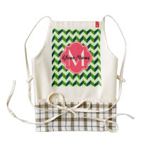 Pink Quatreoil Green Chevron Patchwork Pattern Zazzle HEART Apron