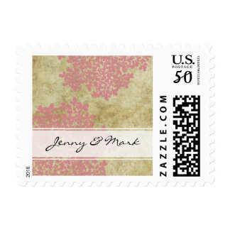 Pink Queen Ann's Lace Vintage Wedding Postage