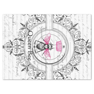 Pink Queen Bee Decoupage Tissue Paper