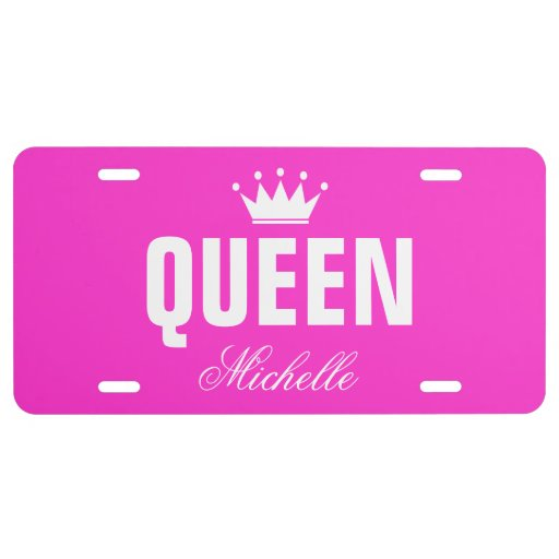 Pink queen license plate with personalized name license