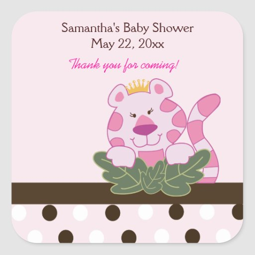 Pink Queen of the Jungle SQUARE Favor Sticker