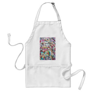 Pink Quetzalcoatl (abstract expressionism) Adult Apron