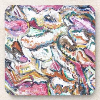 Pink Quetzalcoatl (abstract expressionism) Beverage Coaster