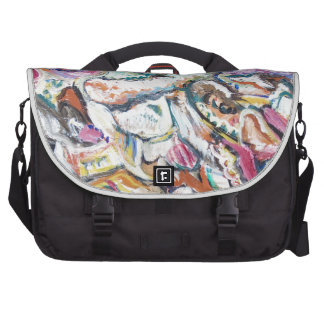 Pink Quetzalcoatl abstract expressionism Bags For Laptop