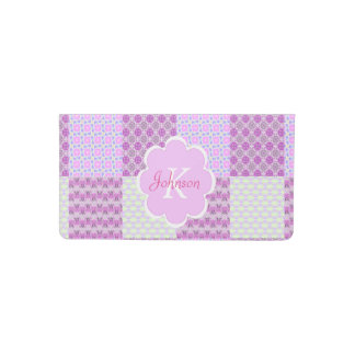 Pink Quilt Like Patten personalizable cover Checkbook Cover