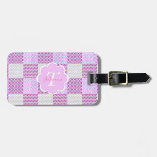 Pink Quilt Like Pattern Bag Tag