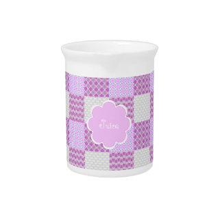 Pink Quilt Like Pattern Beverage Pitchers