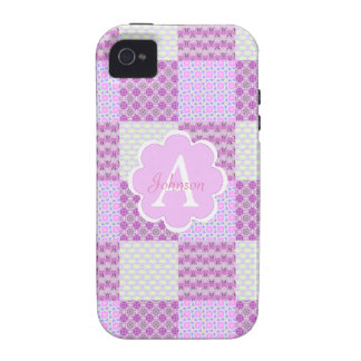 Pink Quilt Like Pattern Vibe iPhone 4 Cover