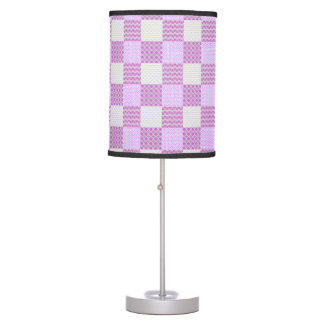 Pink Quilt Like Pattern Desk Lamp