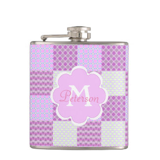 Pink Quilt Like Pattern Flask