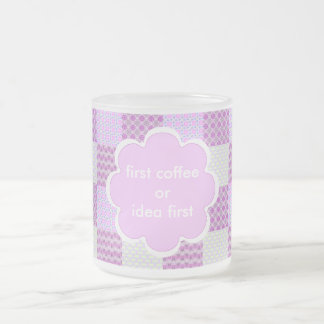 Pink Quilt Like Pattern Frosted Glass Coffee Mug