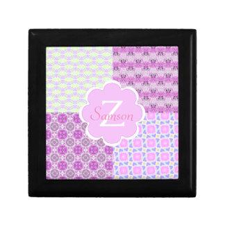 Pink Quilt Like Pattern Jewelry Box