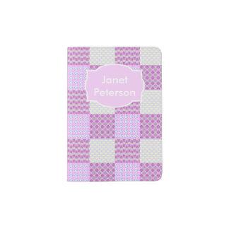 Pink Quilt Like Pattern Passport Holder