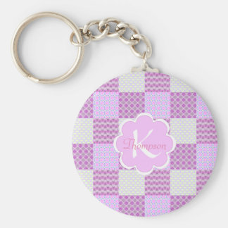 Pink Quilt Like Pattern Personalizable Basic Round Button Keychain