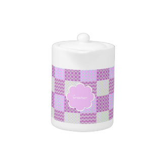 Pink Quilt Like Pattern Teapot