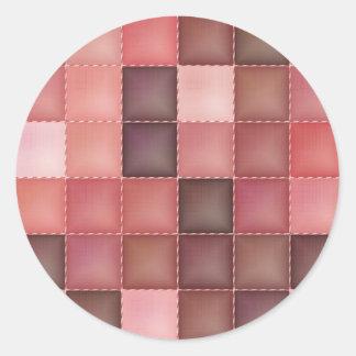 """""""Pink Quilt Pattern"""" Classic Round Sticker"""