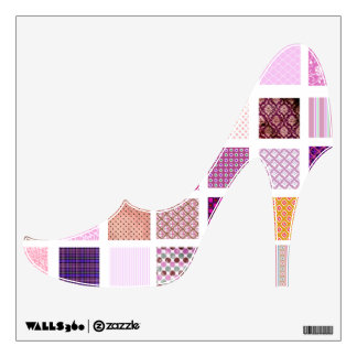 Pink Quilt pattern high heeled shoe wall decal