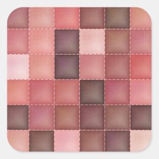 """Pink Quilt Pattern"" Square Sticker"