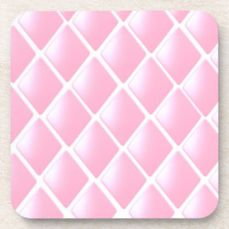 Pink Quilted Diamond Pattern Drink Coaster