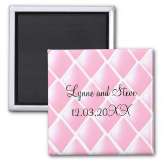 Pink Quilted Diamond Save the Date 2 Inch Square Magnet