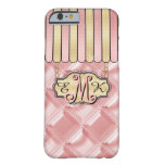 Pink Quilted Satin Look Boutique Monogram Barely There iPhone 6 Case