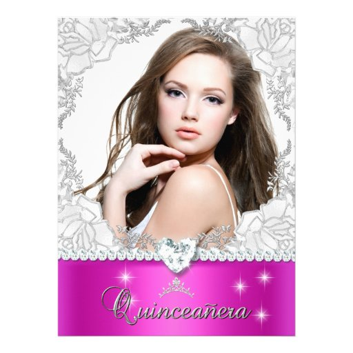 Pink Quinceanera 15 15th Party Diamond Photo Personalized Invitation