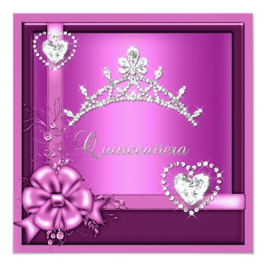 Pink Quinceanera 15th Birthday Party Silver Card