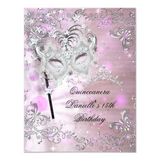 Pink Quinceanera 15th Birthday Tiara Masquerade 4.25x5.5 Paper Invitation Card