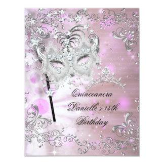 Pink Quinceanera 15th Birthday Tiara Masquerade Custom Invitations