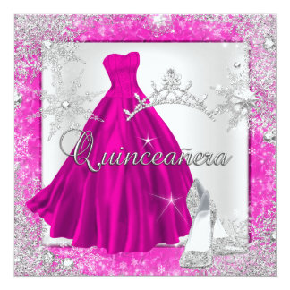 Pink Quinceanera 15th Elite Elegant Birthday Party Card