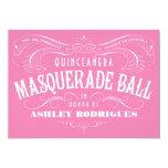 "Pink Quinceanera Masquerade Invitations 5"" X 7"" Invitation Card"