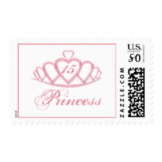 Pink Quinceanera Princess Theme Party Postage