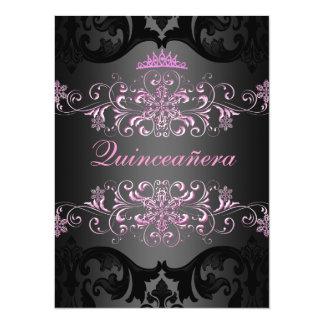 Pink Quinceañera Tiara Damask Birthday Invite