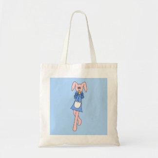 Pink Rabbit Carrying a Cupcake. Canvas Bag