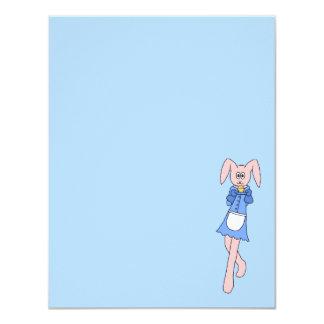 Pink Rabbit Carrying a Cupcake. Custom Invitations