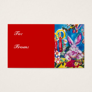 PINK RABBIT,CHRISTMAS CANDLES AND HOLLYBERRIES BUSINESS CARD