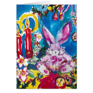 PINK RABBIT,CHRISTMAS CANDLES AND HOLLYBERRIES CARD