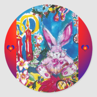 PINK RABBIT,CHRISTMAS CANDLES AND HOLLYBERRIES CLASSIC ROUND STICKER
