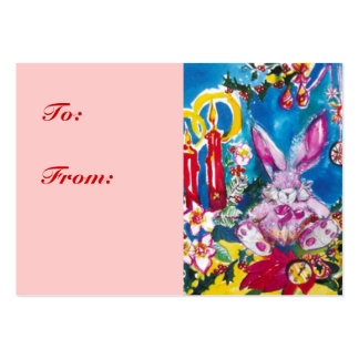 PINK RABBIT,CHRISTMAS CANDLES AND HOLLYBERRIES LARGE BUSINESS CARD
