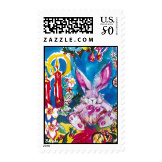 PINK RABBIT,CHRISTMAS CANDLES AND HOLLYBERRIES POSTAGE