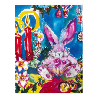 PINK RABBIT,CHRISTMAS CANDLES AND HOLLYBERRIES POSTCARD