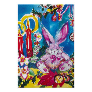 PINK RABBIT,CHRISTMAS CANDLES AND HOLLYBERRIES POSTER