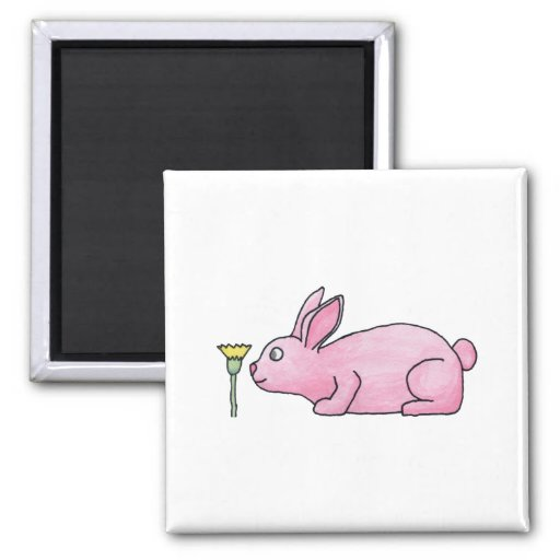 Pink Rabbit with Flower. 2 Inch Square Magnet