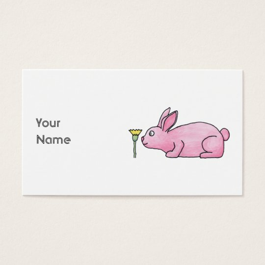 Pink Rabbit with Flower. Business Card